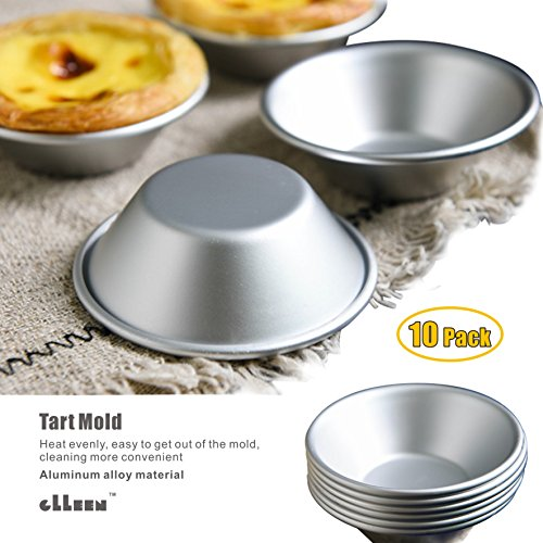 "Mini Pie Pans, Cake Cookie Mold ,Set of 10 Anodized Aluminum Pudding Mould Baking Tool ,Size 2.87""0.86"" By GLLEEN"