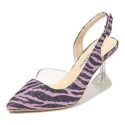 Women's Slingback Kitten Heel Zebra Print Sandal