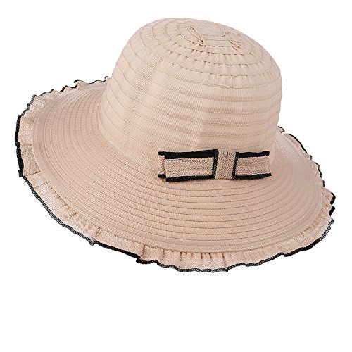 Heart .Attack Summer Hat Ladies Fashion Wave Side Bow Big Sun Hat Female Outdoor Sunscreen Beach,Beige,M (56-58cm)