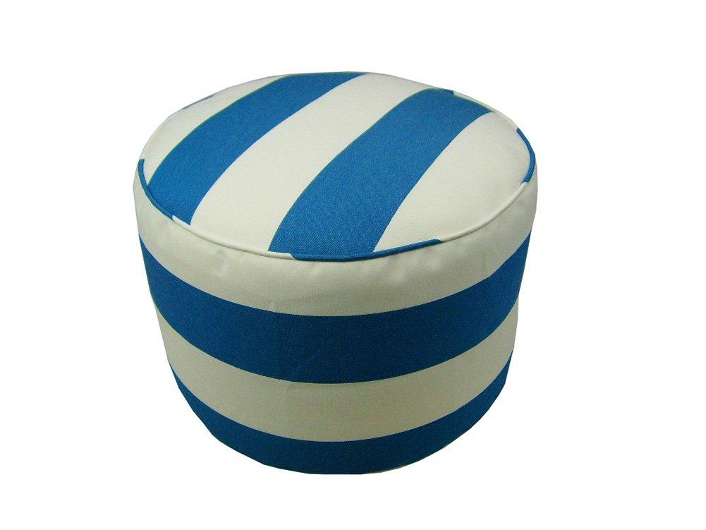 Lava Polyester Ottomans Lava Pillows Sunbrella Cabana Regatta - 17 X 12 Small Round Indoor/Outdoor Pouf 12 X 17 X 17 Inches Blue Model # 56659.423