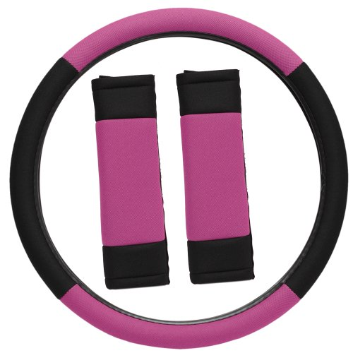 OxGord Sport Mesh Steering Wheel Cover and Seat Belt Pad Set for the Chevrolet Camaro Convertible in Pink & Black Mesh (Pink Camaro Steering Wheel Cover compare prices)