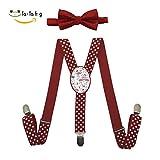 Xiacai Summer Flamingo Suspender&Bow Tie Set Adjustable Clip-On Y-Suspender Boys