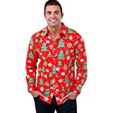 Litetao Men Autumn Xmas Christmas Printing Long Sleeved T-shirt Button Lapel Blouse