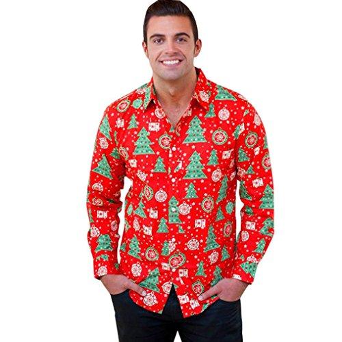 HOT ! YANG-YI Men Autumn Winter Xmas Christmas Printing Top Long Sleeved Blouse (M, Red)