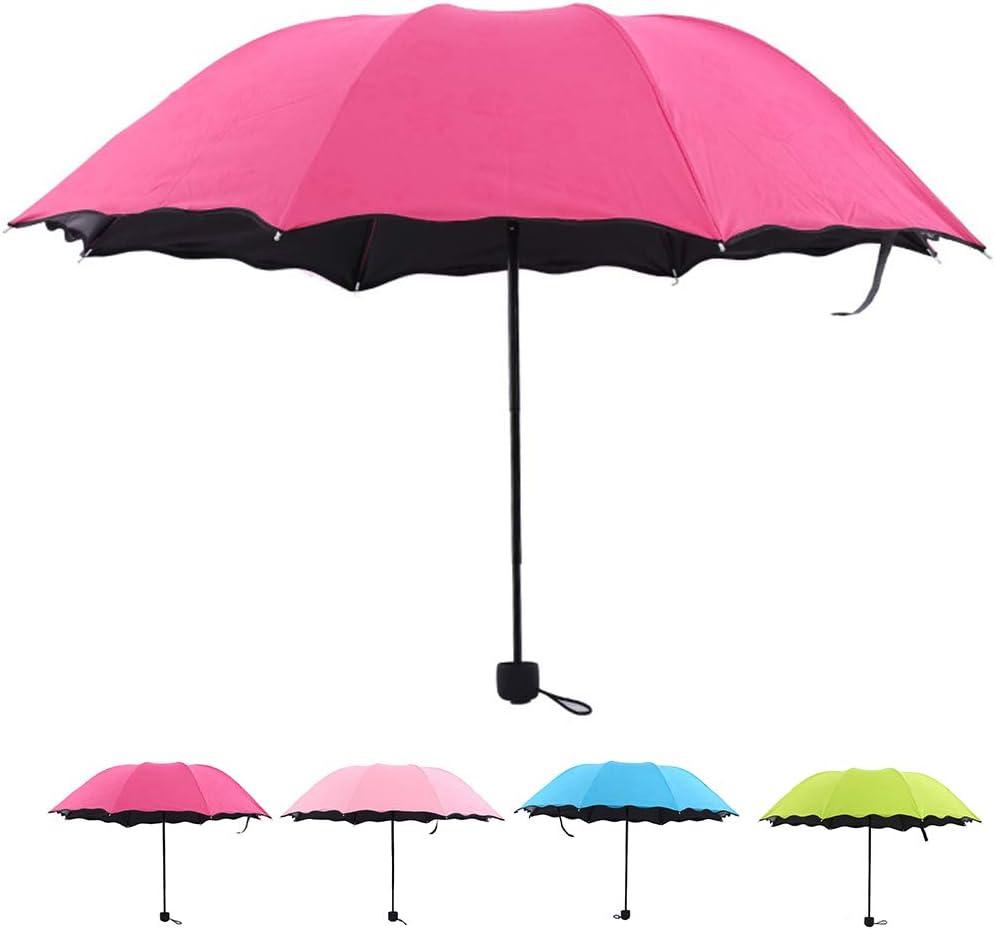 ELENXS Coupe-Vent Pliant Parapluies Femmes Filles Hommes UV Ombrelle Parapluie Pluie Colle Noire Parasol Ultraviolet-Proof
