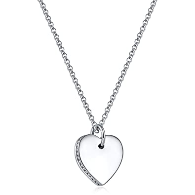 a89ca5707 MILATU Elegance Smooth Heart Necklace Delicate Pendant Platinum-Plated Gift  for Women Girls Jewelry