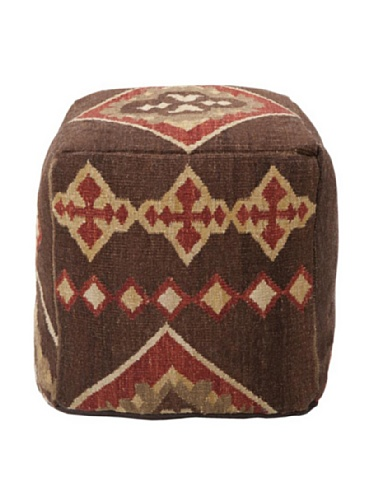 Surya 18 Square (Surya POUF-19 Hand Made 100% Hard Twist Wool Chocolate 18