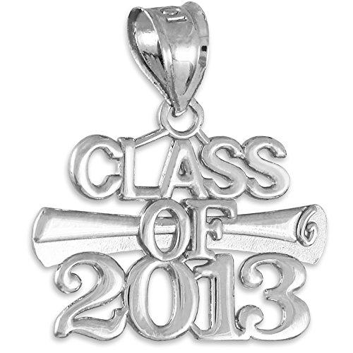 "10 ct 471/1000 Or Blanc ""Classe de 2013"" Graduation - Pendentif"