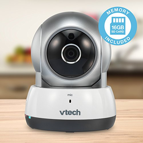 VTech VC9311-112 Wi-Fi IP Camera with 720p HD, Remote Pan Tilt, Free Live Streaming, Automatic Infrared Night Vision 16 GB SD Card, Silver White
