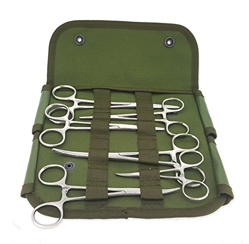 Ultimate Hemostat Set, 6 Piece Includes Tactical Pouch Ideal for hobby tools, electronics, fishing and taxidermy