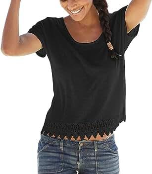 MISSWongg Camiseta Casual Para Mujer Poliéster Cuello Redondo Manga Corta Verano T-Shirt Solid color Vacation tourism Suelto Casual Tops Ligeros Transpirables Mujer Blusas Fiesta Playa Camiseta Encaje: Amazon.es: Ropa y accesorios