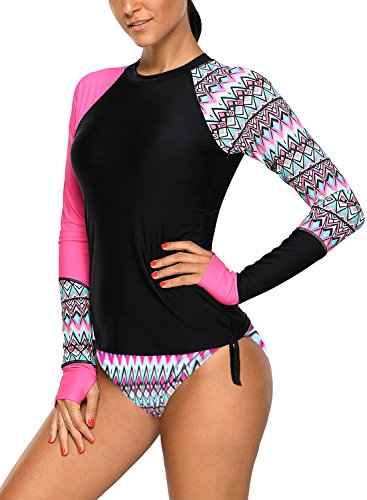 - SailBee Women's UV Sun Protection Long Sleeve Rash Guard Wetsuit Swimsuit Set (410485 M, Rose Red)