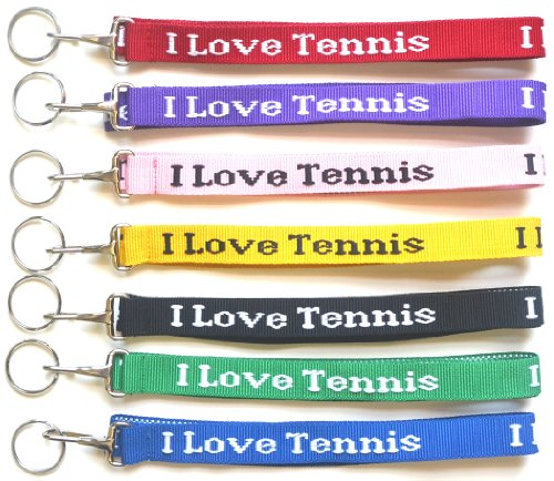 Woven Text Lanyard (I Love Tennis Lanyard - Royal)