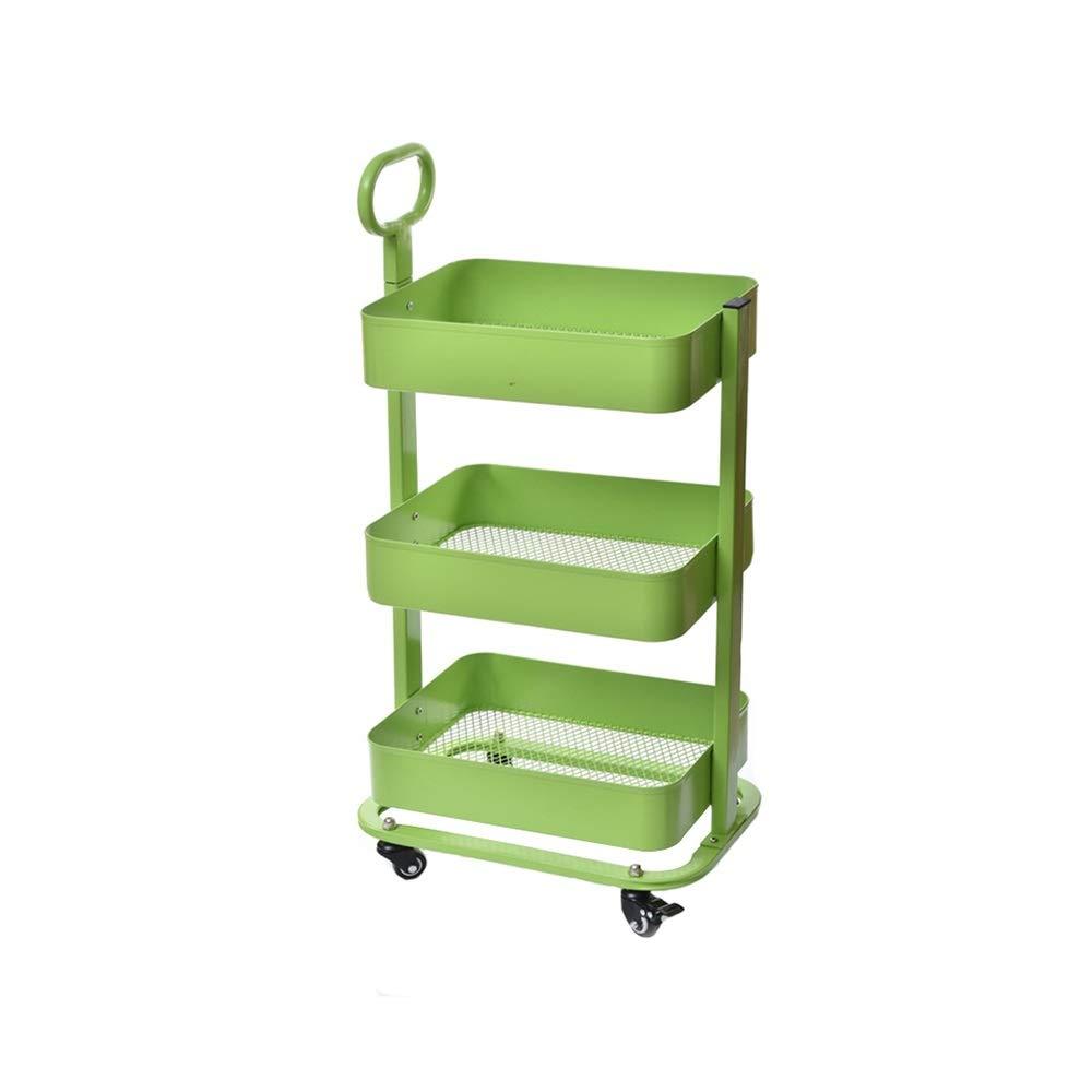 LJJL トロリー収納棚、3層多機能取り外し可能な床タイプ通気性メッシュボトムペイントキッチン収納カート仕上げラック (Color : C) B07TDKSHTB C