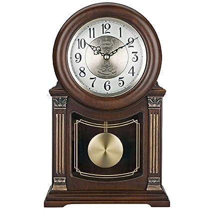 Y-Hui el Reloj en el Salón Dormitorio Oficina Reloj de sobremesa de Madera Sólida