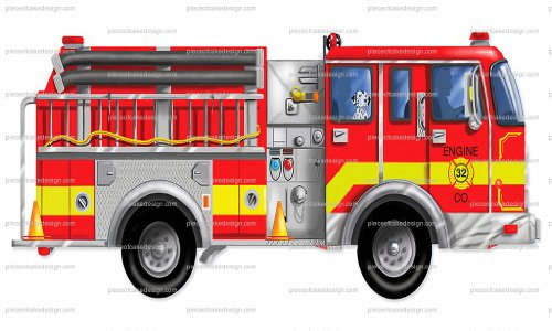 (1/4 - Cartoon Firetruck With Dalmation Birthday - Edible Cake/Cupcake)