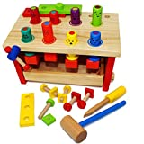 Joyin Toy Wooden Construction Pounding Bench Deluxe Tool Kit Toddler Working Bench With Mallet