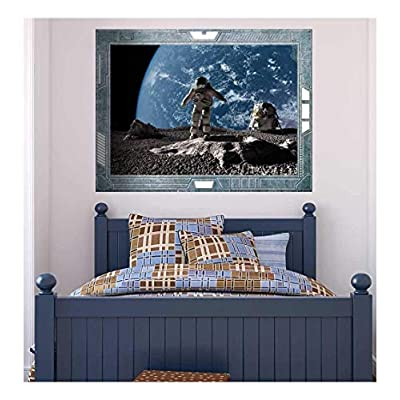 Pretty Expert Craftsmanship, Professional Creation, Science Fiction ViewPort Decal Walking on the Moon Wall Mural