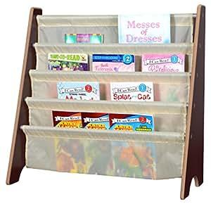 Naomi Home Kids Toy Sling Book Rack, Cream/Espresso