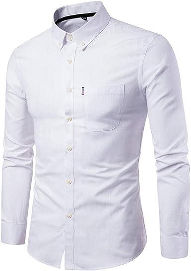 Camisa Hombre Otoño Camisa Manga De Larga Delgada para Hombre Especial Estilo Camisa Informal Sólida Blusa Top Tops: Amazon.es: Ropa y accesorios