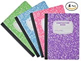 Emraw Neon Color Cover Composition Book with 100 Sheets of wide ruled white paper (4 Pack) Neon Purple, Neon Blue, Neon Green, Neon Pink