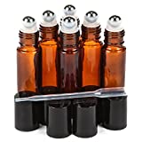 6 New, High Quality, Amber, 10 ml Glass Roll-on Bottles with Stainless Steel Roller Balls - .5 ml Dropper included