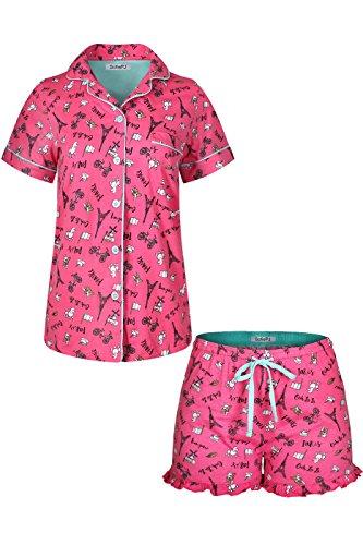SofiePJ Women's Printed Cotton Short Sleeve Notch Collar Button-Down Pajama Shirt & Short Pants Set Hot Pink L -
