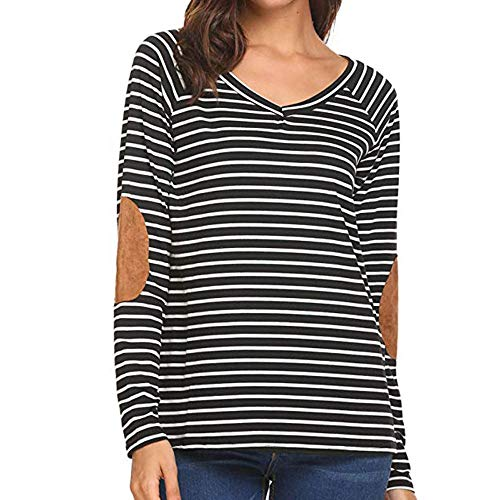 (iFOMO Long Sleeve Stripe V-Neck T-Shirt Loose Casual Tees for Women Black-2)