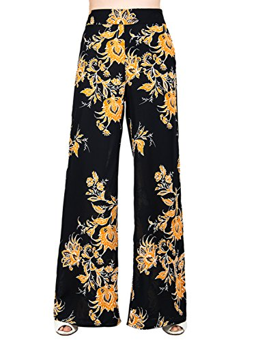 Choies Womens Black Floral Palazzo