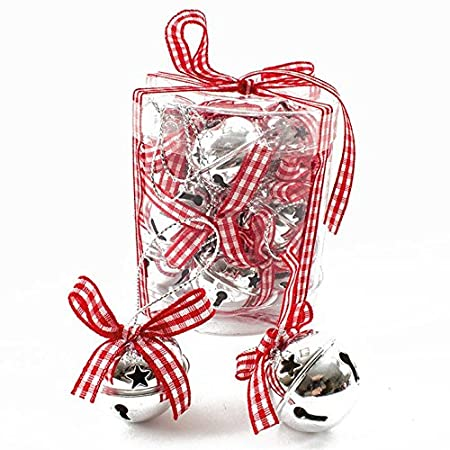 christmas decorations hanging bell baubles santa sleigh jingle bell set of 12 gingham ribbons by heaven