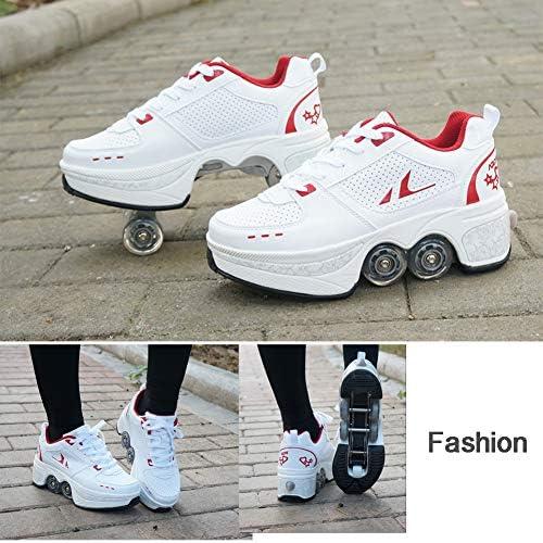 4 Ronden Rolschaatsen Sport Loopschoenen 2 in 1 Mannen Vrouwen Vervorming Multifunctionele Intrekbare Wielen Parkour Schoenen Onzichtbare Rolschaatsschoenen voor Kinderen,41 V8XzgoYr