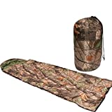 IRQ Rectangle Cotton Sleeping Bags for Camping Hiking Leaf Pattern Hooded Lightweight Sleeping Bag Camo with Carry Bag