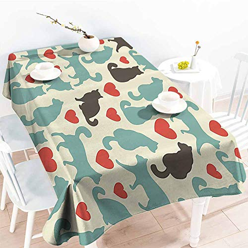 Homrkey Easy Care Tablecloth Cat Lover Decor Collection Pattern with Hearts Happy Walking Shape Kitty Domestic Animal Silhouette Turquoise Red Brown Excellent Durability W60 xL84
