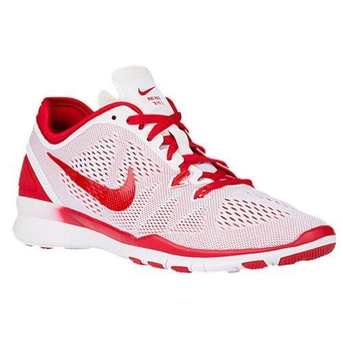 Nike Women's Free 5.0 Tr Fit 5 Prt Training Shoe Women US (11 B(M) US, White/Sport Red)