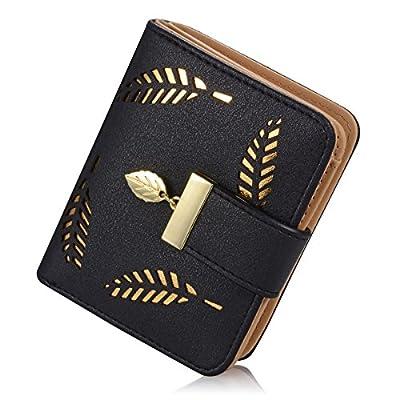 Women's Short Leather Card Holder Purse Zipper Buckle Elegant Clutch Wallet (Short Black)