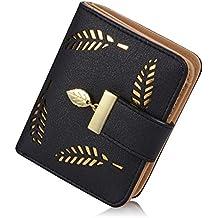 Women's Short Leather Card Holder Purse Zipper Buckle Elegant Clutch Wallet