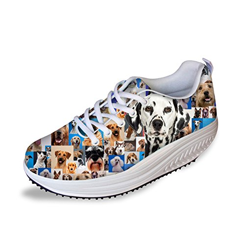 Animals Dog Shape Fitness Walking Sneaker Casual Womens Wedges Platform Shoes Dalmatian Wy4HKr3J