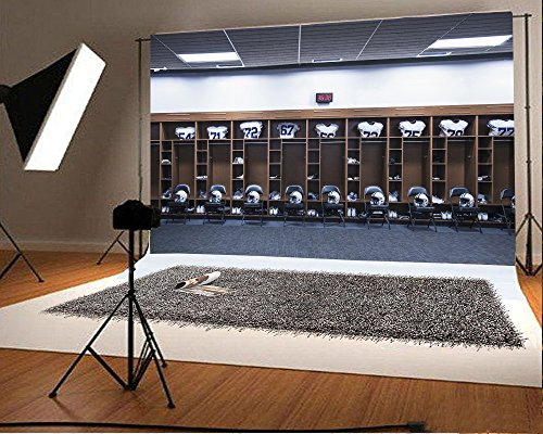 Laeacco 7x5FT Vinyl Backdrop Large Stadium Photography Background American Football Locker Room Helmets Chairs Football Game Sportsman Theme Background Photo Backdrop Studio Props
