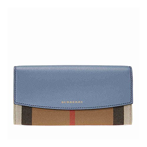 Burberry House Check Sartorial Leather Wallet- Slate Blue by BURBERRY