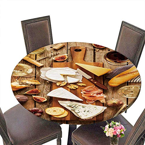 PINAFORE Luxury Round Table Cloth for Home use Different Kinds of Cheeses Wine Baguette Fruits and Snacks on Rustic Wooden fromabove for Buffet Table, Holiday Dinner 55