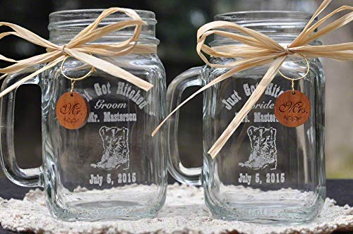 Cowboy Boot Wedding Mason Jars with Wooden Charms and Choice Handle Directions -