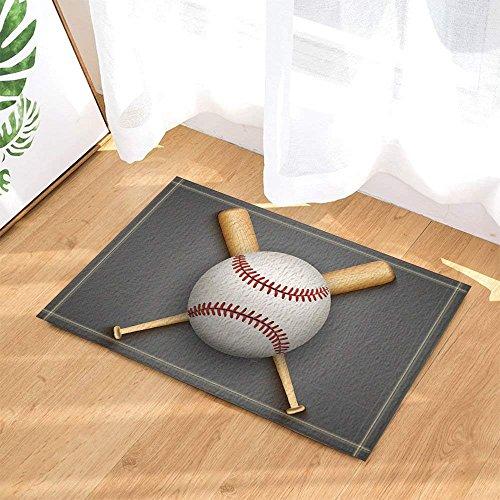 Sports Decor Baseball Leather Ball and Wooden Bats Bath Rugs Non-Slip Doormat Floor Entryways Indoor Front Door Mat Kids Bath Mat 15.7x23.6in Bathroom Accessories -