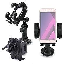 """DURAGADGET Support voiture 3 en 1 pour Samsung Galaxy S8 Smartphone écran 5,8"""" - rotatif 360° sur grille d'aération, pare-brise & tableau de bord"""