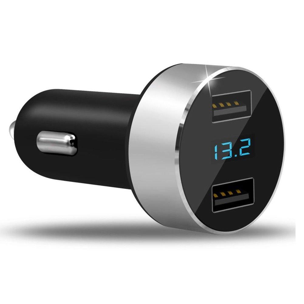 Blue AOTUO Pantalla Digital llevada del volt/ímetro de la Pantalla del Encendedor 12v 24v del Cargador del Cigarrillo del Coche del USB de los Puertos 3.1a
