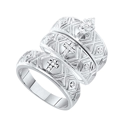 10kt White Gold His & Hers Marquise Diamond Crosses Matching Bridal Wedding Ring Band Set 1/8 Cttw by JawaFashion