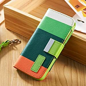 Hit Contrast Colorful Painting Flip Leather Case For iPhone 5 5S Wallet Stand Leather Cover Phone Bag 5 Style --- Color:NO 5
