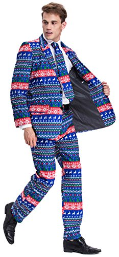 U LOOK UGLY TODAY Mens Bachelor Party Suit Funny Costume Novelty Xmas Jacket with Tie Christmas ELK-Large