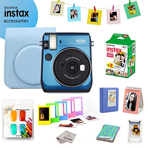 Fujifilm Instax Mini 70 Bundle (Blue) – Fuji Camera Instant Film (20 Sheets) + 9-in-1 Accessory Bundle – Carry Case, 4 Color Filters, 2 Photo Albums, Assorted Frames & Much More