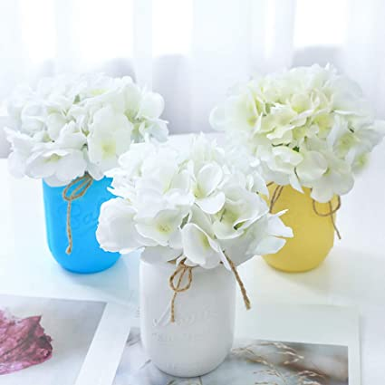 Amazon Veryhome Blooming Silk Hydrangea Flower Heads For DIY Bouquets Wedding Centerpieces Home Decor 12pcs White Kitchen