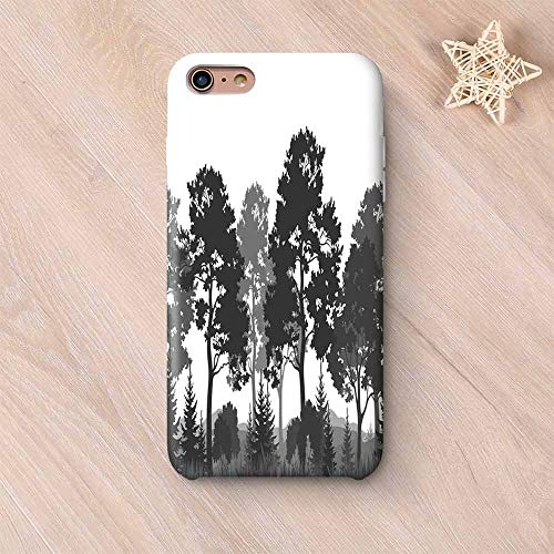 (Black and White Decorations Wear Resisting Compatible with iPhone Case,Summer Forest Pine and Fir Trees Grass Bush Silhouettes Decorative Compatible with iPhone 7/8,iPhone 6 Plus / 6s Plus)